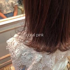 ナチュラル ピンクブラウン ラベンダーピンク ボブ ヘアスタイルや髪型の写真・画像