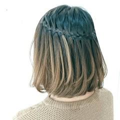 ショート ウォーターフォール ヘアアレンジ ナチュラル ヘアスタイルや髪型の写真・画像
