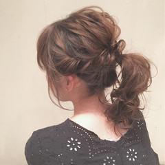 ゆるふわ ポニーテール ミディアム ナチュラル ヘアスタイルや髪型の写真・画像