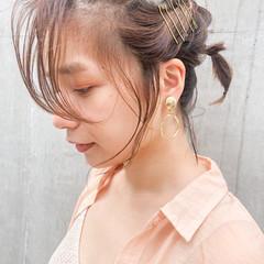 インナーカラー ミニボブ ショートアレンジ 簡単ヘアアレンジ ヘアスタイルや髪型の写真・画像