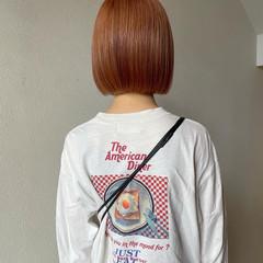 ストリート ペールピンク 切りっぱなしボブ オレンジカラー ヘアスタイルや髪型の写真・画像
