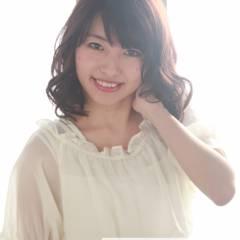 ミディアム コンサバ 丸顔 モテ髪 ヘアスタイルや髪型の写真・画像