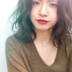 アンニュイ 透明感 外ハネ 前髪あり ヘアスタイルや髪型の写真・画像