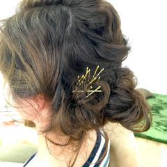 アッシュ セミロング 簡単ヘアアレンジ ゆるふわ ヘアスタイルや髪型の写真・画像