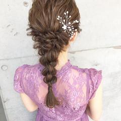 ヘアアレンジ 編みおろしヘア 編みおろし 結婚式髪型 ヘアスタイルや髪型の写真・画像