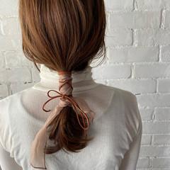 セルフヘアアレンジ ナチュラル セミロング ヘアアレンジ ヘアスタイルや髪型の写真・画像
