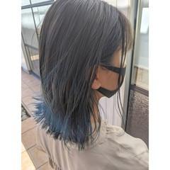 ブルー モード ボブ ネイビーブルー ヘアスタイルや髪型の写真・画像