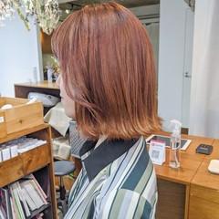 アプリコットオレンジ ボブ オレンジベージュ オレンジカラー ヘアスタイルや髪型の写真・画像