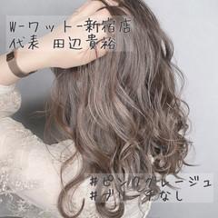 ラベンダーアッシュ ピンクブラウン ミルクティーベージュ ハイライト ヘアスタイルや髪型の写真・画像