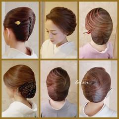 着物 ヘアセット エレガント ミディアム ヘアスタイルや髪型の写真・画像