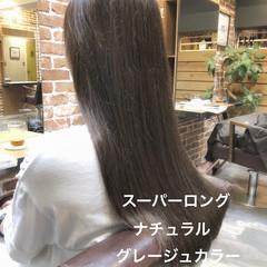 ナチュラル ラベンダーアッシュ グレージュ ロング ヘアスタイルや髪型の写真・画像