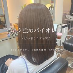 ラベンダーピンク ナチュラル トーンダウン ピンクブラウン ヘアスタイルや髪型の写真・画像