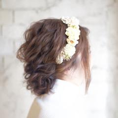 結婚式 ヘアアレンジ 花嫁 セミロング ヘアスタイルや髪型の写真・画像