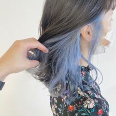 パステルカラー インナーカラー イヤリングカラー ミディアム ヘアスタイルや髪型の写真・画像
