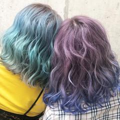 ブルー ミディアム ラベンダーアッシュ ストリート ヘアスタイルや髪型の写真・画像