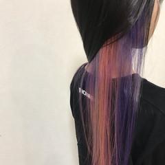 ダブルカラー ストリート インナーカラー ピンクバイオレット ヘアスタイルや髪型の写真・画像