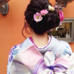 シニヨン 成人式 ヘアアレンジ 編み込み ヘアスタイルや髪型の写真・画像