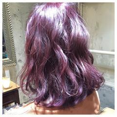 グラデーションカラー ミディアム ガーリー ピンク ヘアスタイルや髪型の写真・画像