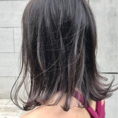ナチュラル パープル ミディアム 外ハネ ヘアスタイルや髪型の写真・画像