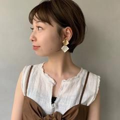 ミニボブ デート フェミニン 丸みショート ヘアスタイルや髪型の写真・画像