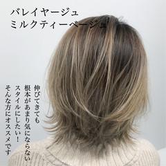 バレイヤージュ グラデーションカラー ボブ ナチュラル ヘアスタイルや髪型の写真・画像