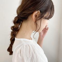 簡単ヘアアレンジ 結婚式ヘアアレンジ ナチュラル セミロング ヘアスタイルや髪型の写真・画像