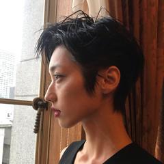 ハンサムショート ショート アンニュイほつれヘア 黒髪 ヘアスタイルや髪型の写真・画像