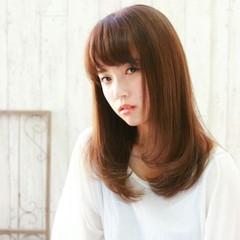 前髪あり 大人かわいい ナチュラル セミロング ヘアスタイルや髪型の写真・画像