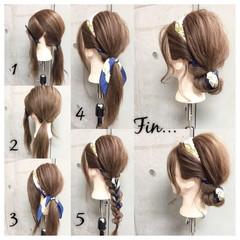 ヘアアレンジ ショート セミロング ヘアアクセ ヘアスタイルや髪型の写真・画像