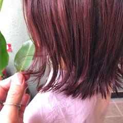 フェミニン レッドカラー ボブ ヘアカラー ヘアスタイルや髪型の写真・画像
