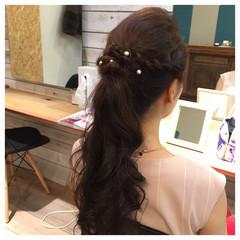 ポニーテール 編み込み ヘアアレンジ ロング ヘアスタイルや髪型の写真・画像