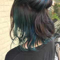 ブルー ボブ ストリート 簡単 ヘアスタイルや髪型の写真・画像