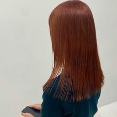 オレンジカラー オレンジブラウン オレンジベージュ ナチュラル ヘアスタイルや髪型の写真・画像