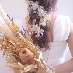 結婚式 極細ハイライト 結婚式ヘアアレンジ ロング ヘアスタイルや髪型の写真・画像