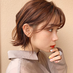 フェミニン ミニボブ インナーカラー ボブ ヘアスタイルや髪型の写真・画像