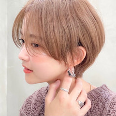 ラベンダーカラー ベリーショート ショートボブ フェミニン ヘアスタイルや髪型の写真・画像
