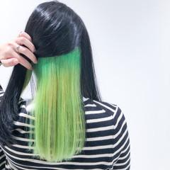 ホワイトブリーチ セミロング ブリーチオンカラー モード ヘアスタイルや髪型の写真・画像