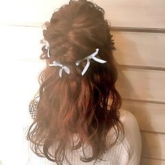 簡単ヘアアレンジ ハーフアップ セミロング 結婚式 ヘアスタイルや髪型の写真・画像