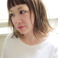 色気 ボブ ナチュラル ミルクティー ヘアスタイルや髪型の写真・画像