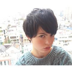 小顔 ショート メンズ 黒髪 ヘアスタイルや髪型の写真・画像