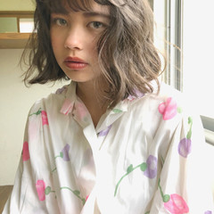 アンニュイほつれヘア ゆるふわ ガーリー ボブ ヘアスタイルや髪型の写真・画像