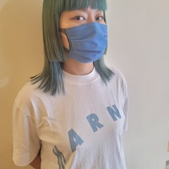 モード 韓国ヘア グリーン ハイトーンカラー ヘアスタイルや髪型の写真・画像
