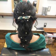結婚式ヘアアレンジ ヘアアレンジ セミロング 編み込みヘア ヘアスタイルや髪型の写真・画像