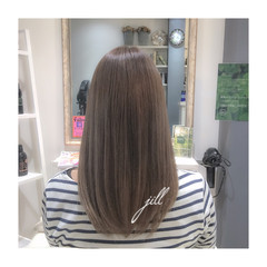 ダブルカラー 外国人風 アッシュグレージュ セミロング ヘアスタイルや髪型の写真・画像