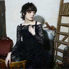 外国人風 大人かわいい 黒髪 ショート ヘアスタイルや髪型の写真・画像