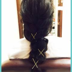 ヘアピン 簡単ヘアアレンジ ヘアアレンジ ヘアアクセ ヘアスタイルや髪型の写真・画像
