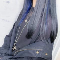インナーカラー ブルー ロング モード ヘアスタイルや髪型の写真・画像