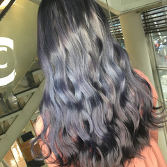 ストリート ブルージュ ブルー 青紫 ヘアスタイルや髪型の写真・画像