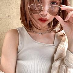 ミニボブ ハイトーンカラー 透明感カラー ナチュラル ヘアスタイルや髪型の写真・画像