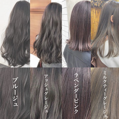 ミルクティーベージュ ロング ナチュラル ピンクアッシュ ヘアスタイルや髪型の写真・画像